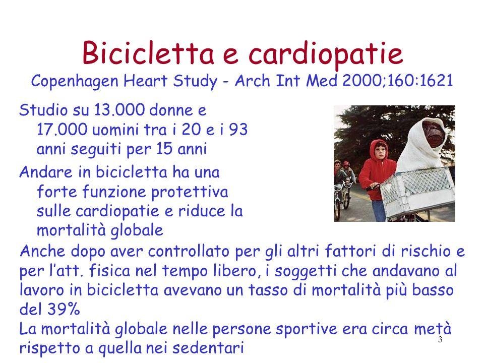 Bicicletta e cardiopatie Copenhagen Heart Study - Arch Int Med 2000;160:1621