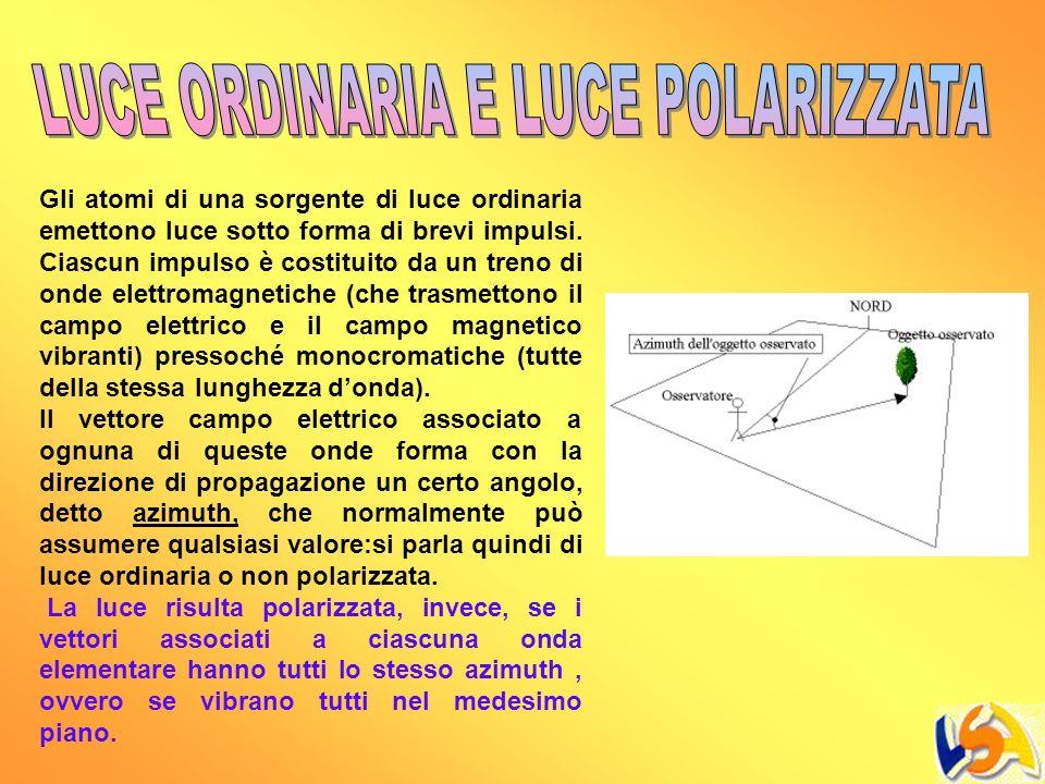 LUCE ORDINARIA E LUCE POLARIZZATA