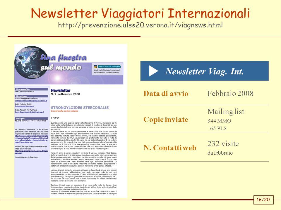 Newsletter Viaggiatori Internazionali http://prevenzione. ulss20
