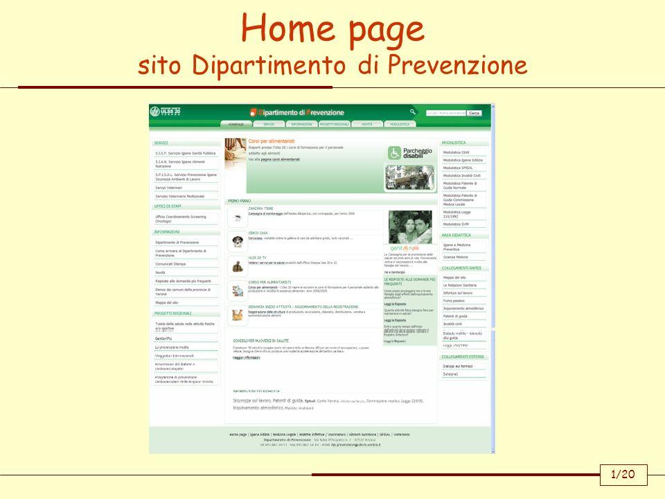 Home page sito Dipartimento di Prevenzione