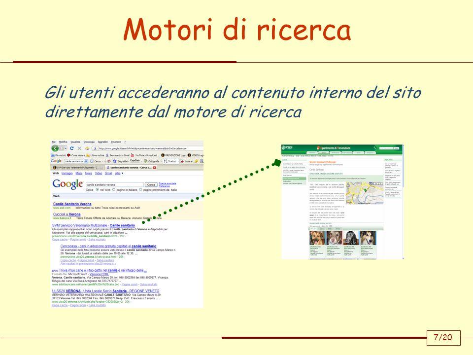 Motori di ricercaGli utenti accederanno al contenuto interno del sito direttamente dal motore di ricerca.