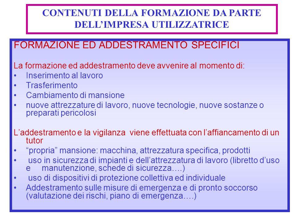 CONTENUTI DELLA FORMAZIONE DA PARTE DELL'IMPRESA UTILIZZATRICE