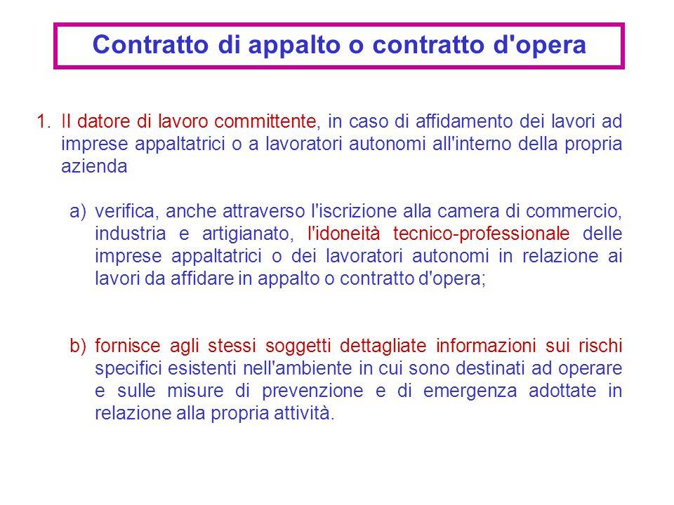 Contratto di appalto o contratto d opera