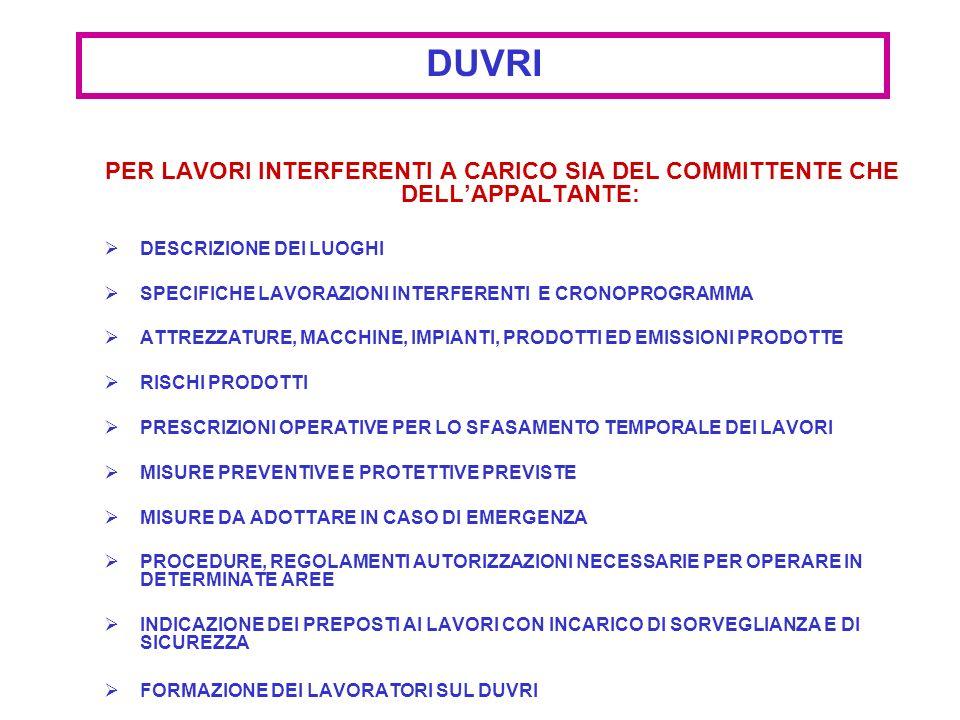 DUVRI PER LAVORI INTERFERENTI A CARICO SIA DEL COMMITTENTE CHE DELL'APPALTANTE: DESCRIZIONE DEI LUOGHI.