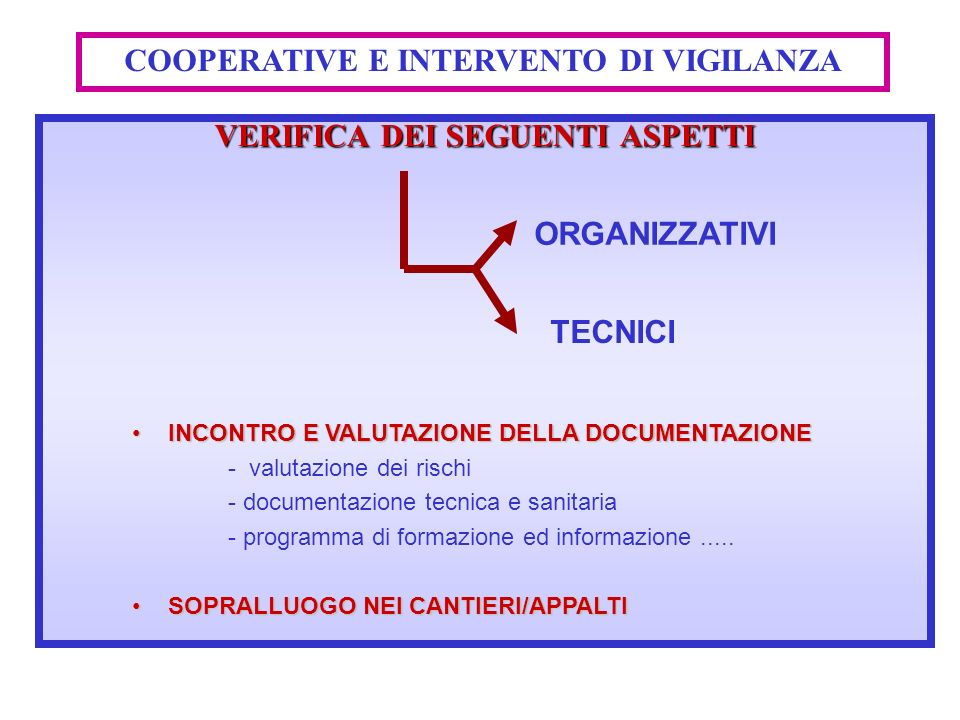 COOPERATIVE E INTERVENTO DI VIGILANZA VERIFICA DEI SEGUENTI ASPETTI