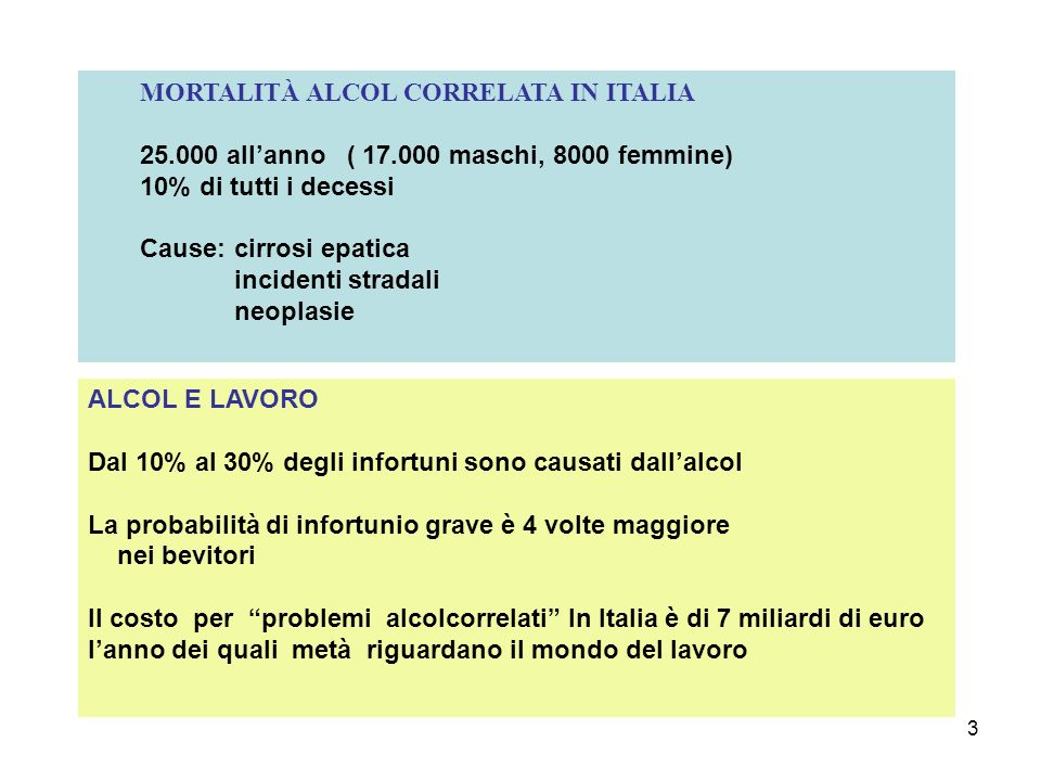 MORTALITÀ ALCOL CORRELATA IN ITALIA