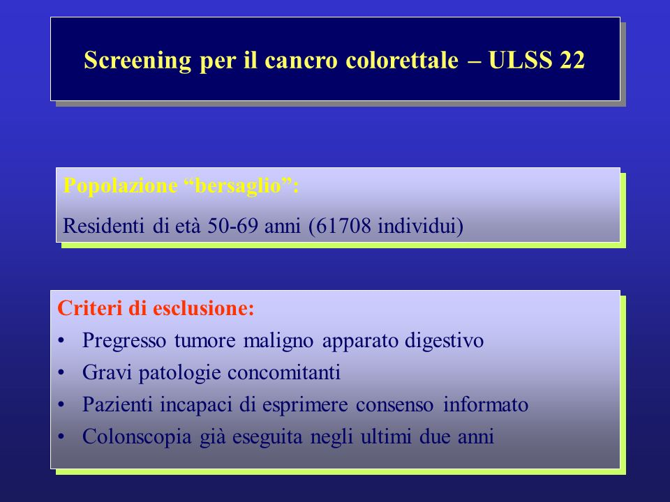 Screening per il cancro colorettale – ASL 22