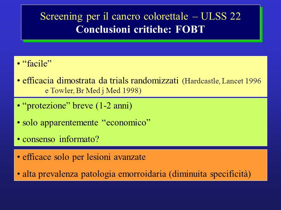 Screening per il cancro colorettale – ULSS 22 Conclusioni critiche: FOBT