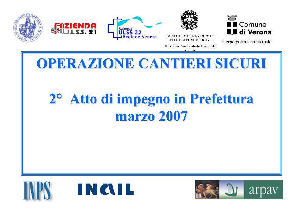 OPERAZIONE CANTIERI SICURI 2° Atto di impegno in Prefettura marzo 2007