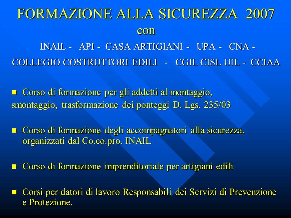 FORMAZIONE ALLA SICUREZZA 2007 con INAIL - API - CASA ARTIGIANI - UPA - CNA - COLLEGIO COSTRUTTORI EDILI - CGIL CISL UIL - CCIAA