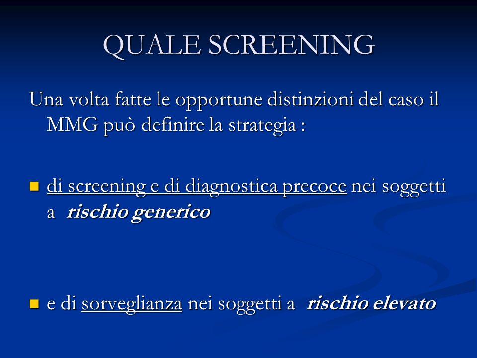 QUALE SCREENINGUna volta fatte le opportune distinzioni del caso il MMG può definire la strategia :