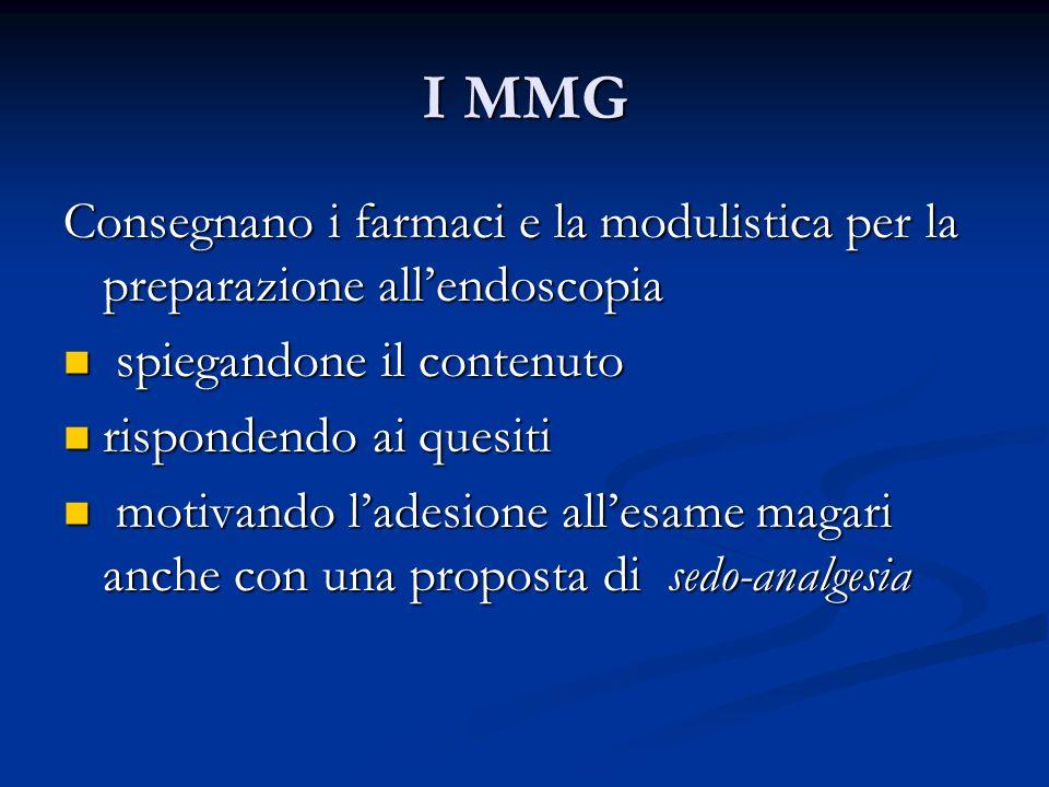 I MMGConsegnano i farmaci e la modulistica per la preparazione all'endoscopia. spiegandone il contenuto.