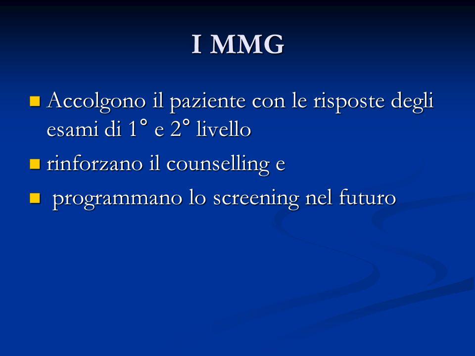 I MMGAccolgono il paziente con le risposte degli esami di 1° e 2° livello. rinforzano il counselling e.