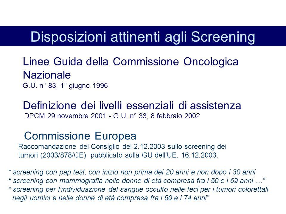 Disposizioni attinenti agli Screening
