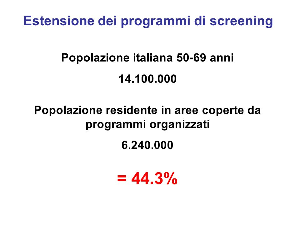 = 44.3% Estensione dei programmi di screening
