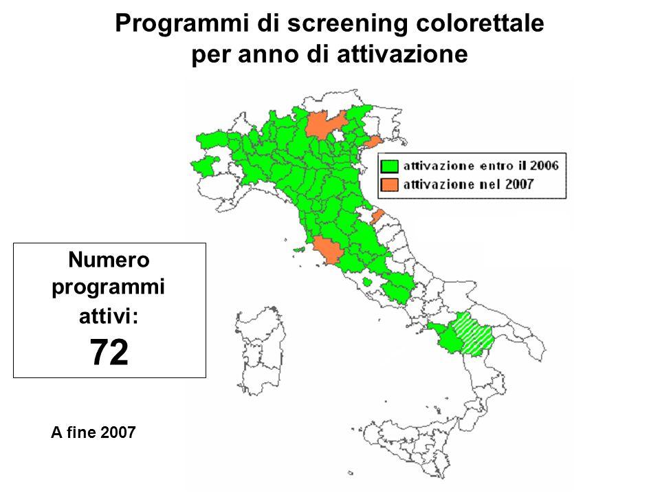 Programmi di screening colorettale Numero programmi attivi: 72