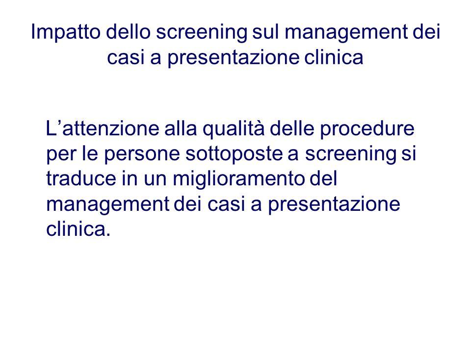 Impatto dello screening sul management dei casi a presentazione clinica