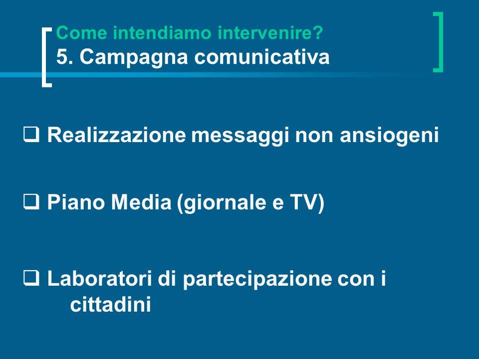 Come intendiamo intervenire 5. Campagna comunicativa