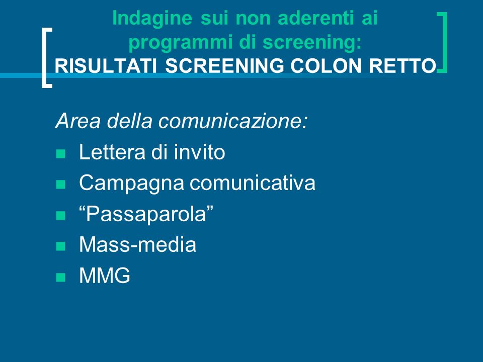 Area della comunicazione: Lettera di invito Campagna comunicativa