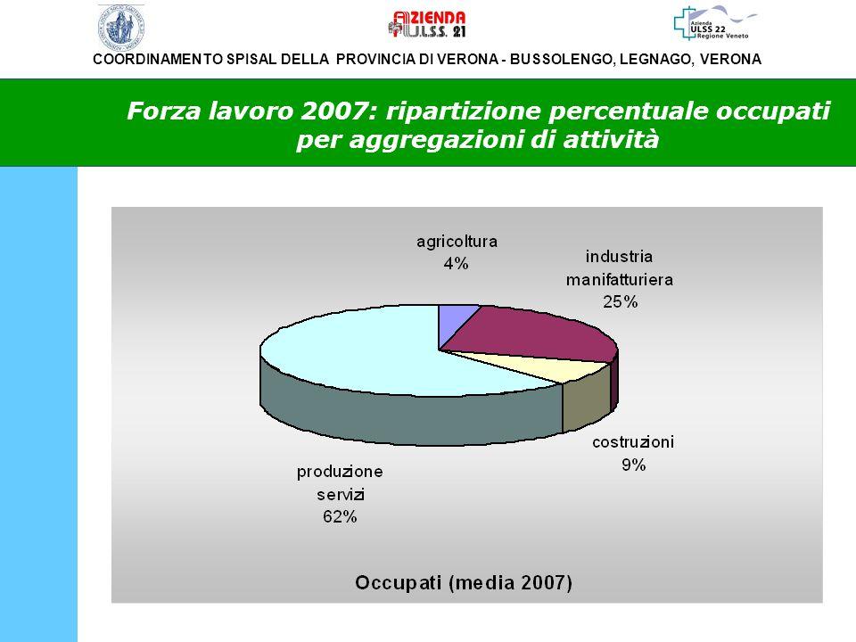 Forza lavoro 2007: ripartizione percentuale occupati per aggregazioni di attività