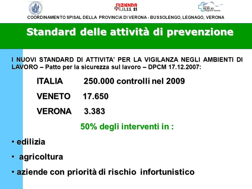 Standard delle attività di prevenzione