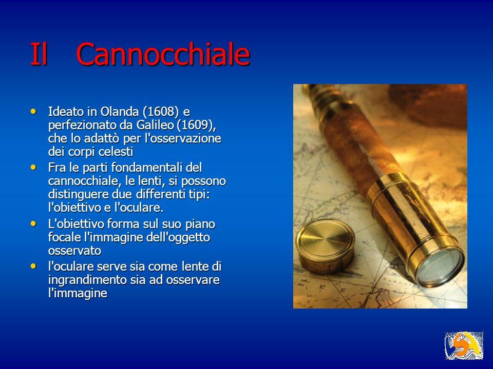 Il Cannocchiale Ideato in Olanda (1608) e perfezionato da Galileo (1609), che lo adattò per l osservazione dei corpi celesti.
