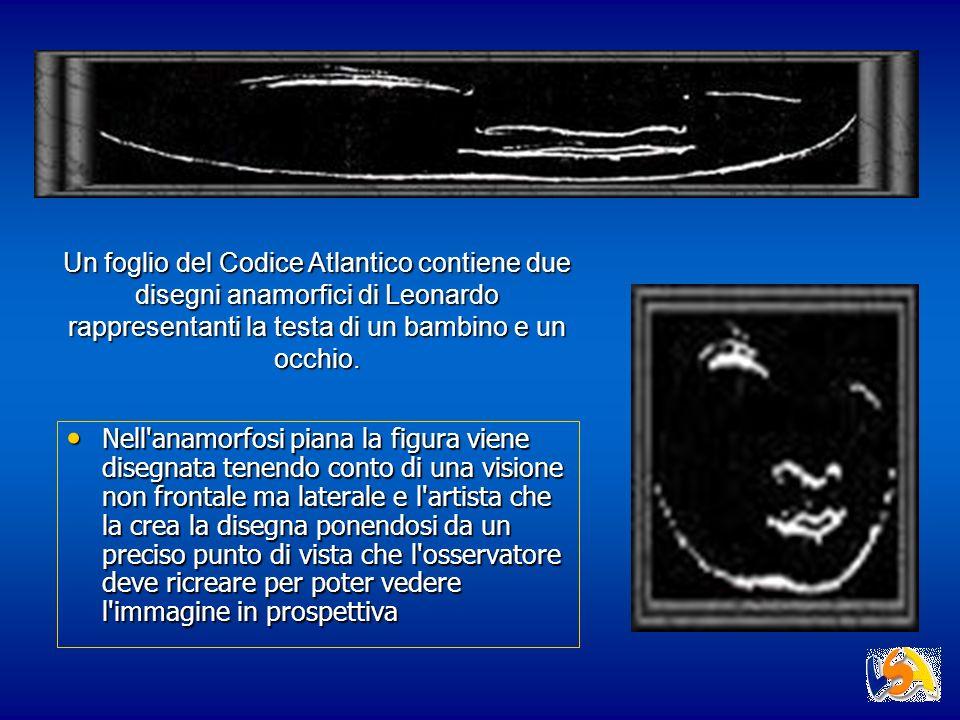Un foglio del Codice Atlantico contiene due disegni anamorfici di Leonardo rappresentanti la testa di un bambino e un occhio.