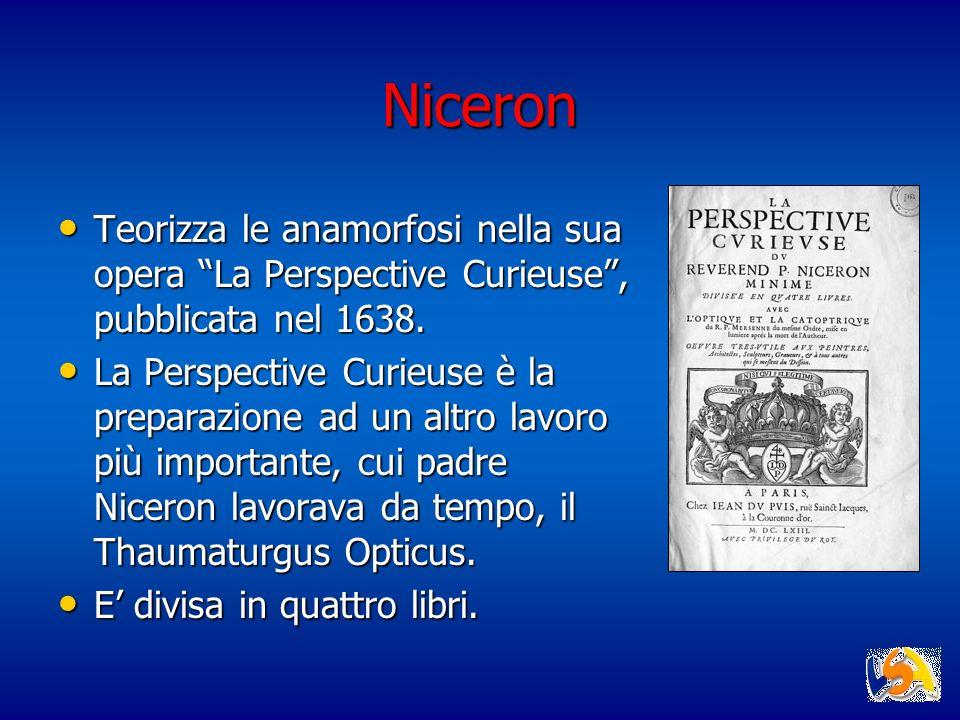 Niceron Teorizza le anamorfosi nella sua opera La Perspective Curieuse , pubblicata nel 1638.