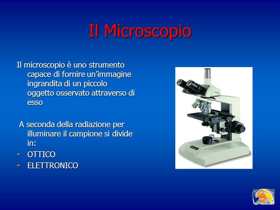 Il Microscopio Il microscopio è uno strumento capace di fornire un'immagine ingrandita di un piccolo oggetto osservato attraverso di esso.