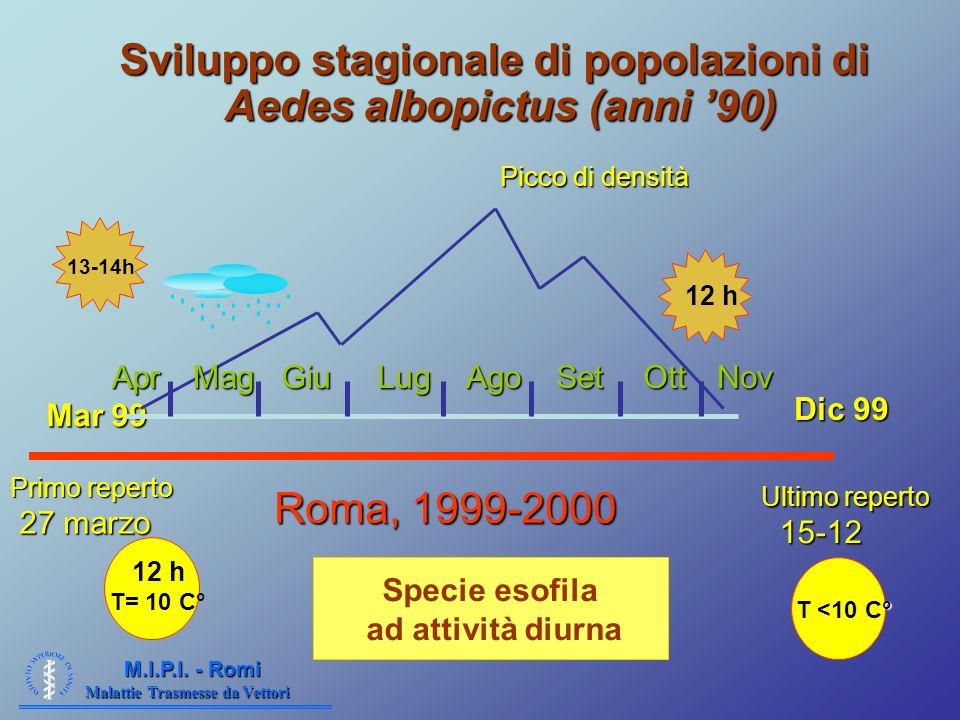 Sviluppo stagionale di popolazioni di Aedes albopictus (anni '90)