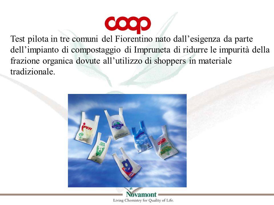 Test pilota in tre comuni del Fiorentino nato dall'esigenza da parte dell'impianto di compostaggio di Impruneta di ridurre le impurità della frazione organica dovute all'utilizzo di shoppers in materiale tradizionale.