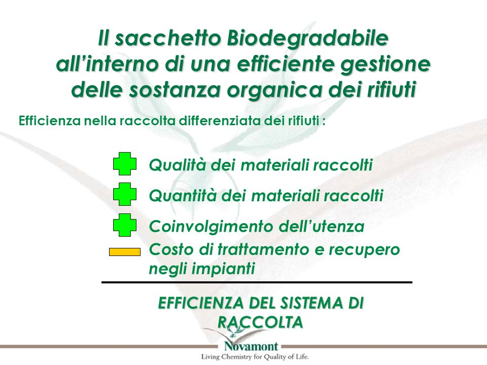 EFFICIENZA DEL SISTEMA DI RACCOLTA