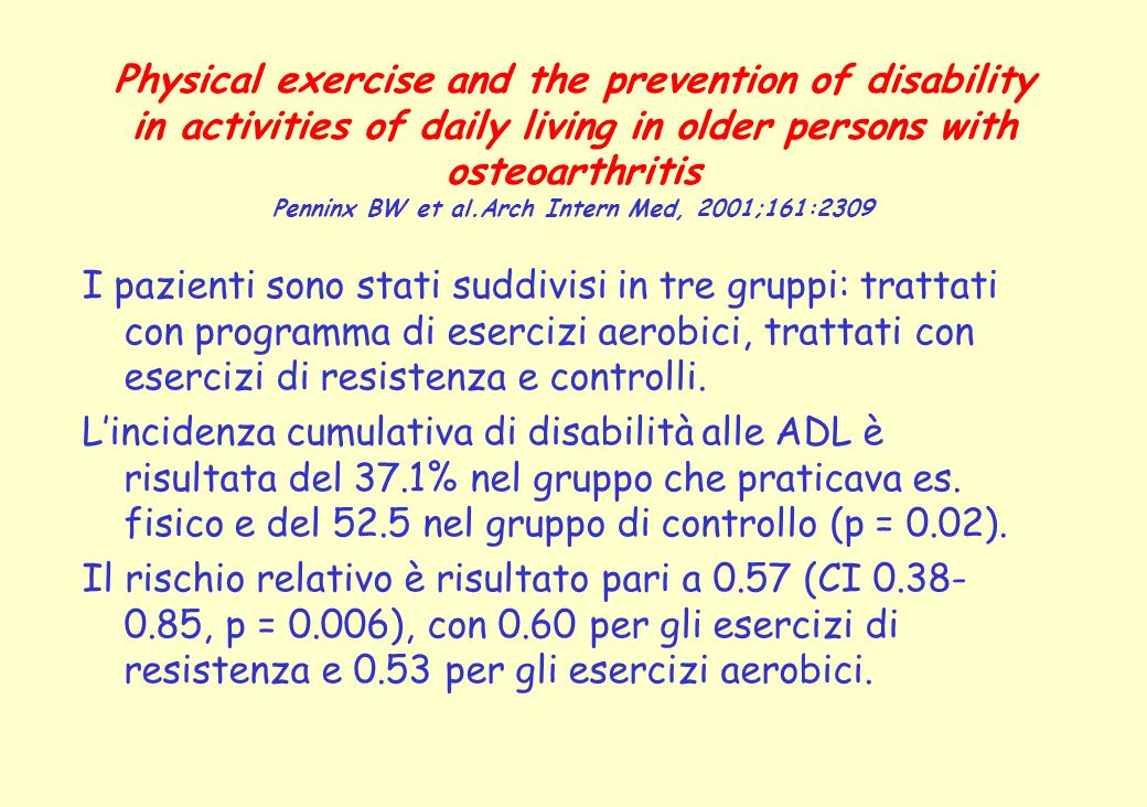 Physical exercise and the prevention of disability in activities of daily living in older persons with osteoarthritis Penninx BW et al.Arch Intern Med, 2001;161:2309
