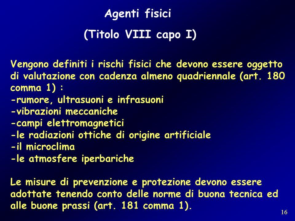 Agenti fisici (Titolo VIII capo I)
