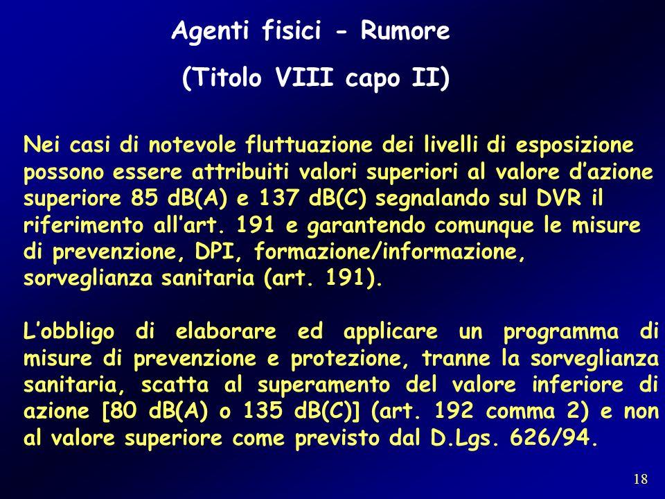 Agenti fisici - Rumore (Titolo VIII capo II)