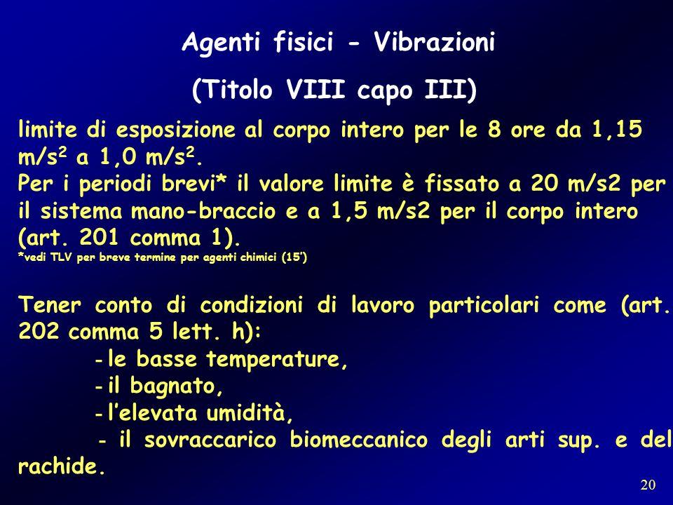 Agenti fisici - Vibrazioni (Titolo VIII capo III)