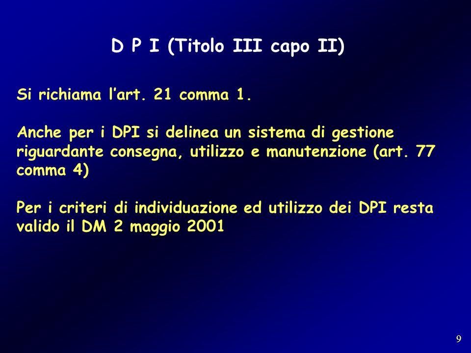 D P I (Titolo III capo II)