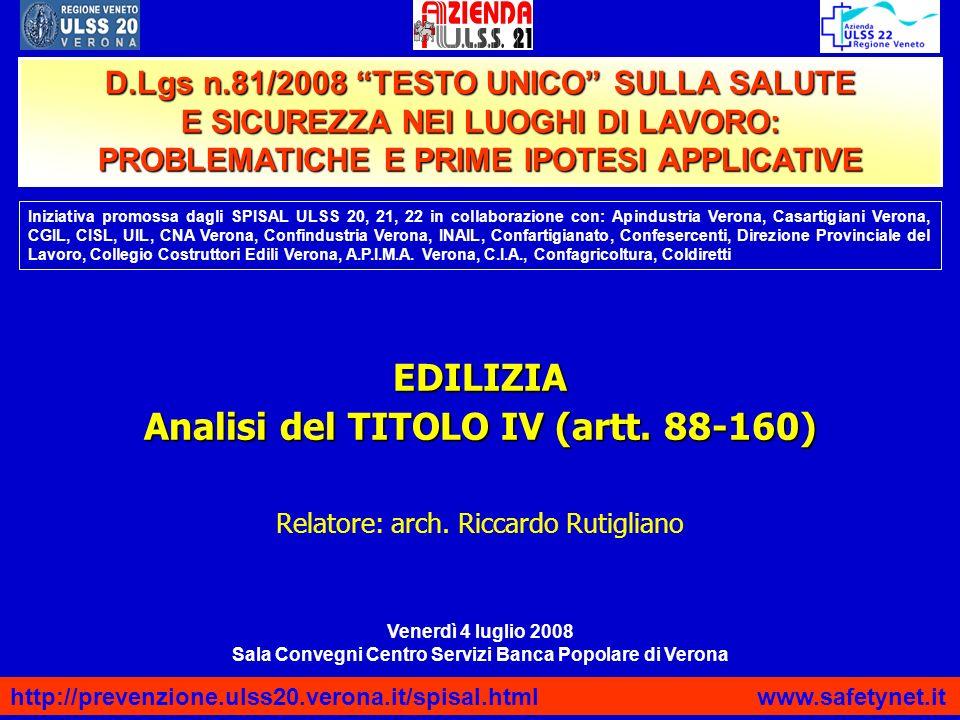 EDILIZIA Analisi del TITOLO IV (artt. 88-160)