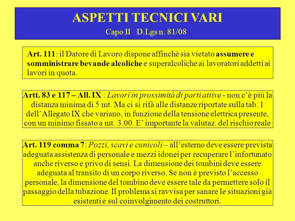 ASPETTI TECNICI VARI Capo II D.Lgs n. 81/08