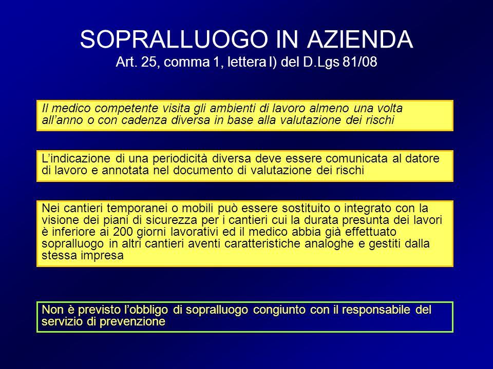 SOPRALLUOGO IN AZIENDA Art. 25, comma 1, lettera l) del D.Lgs 81/08