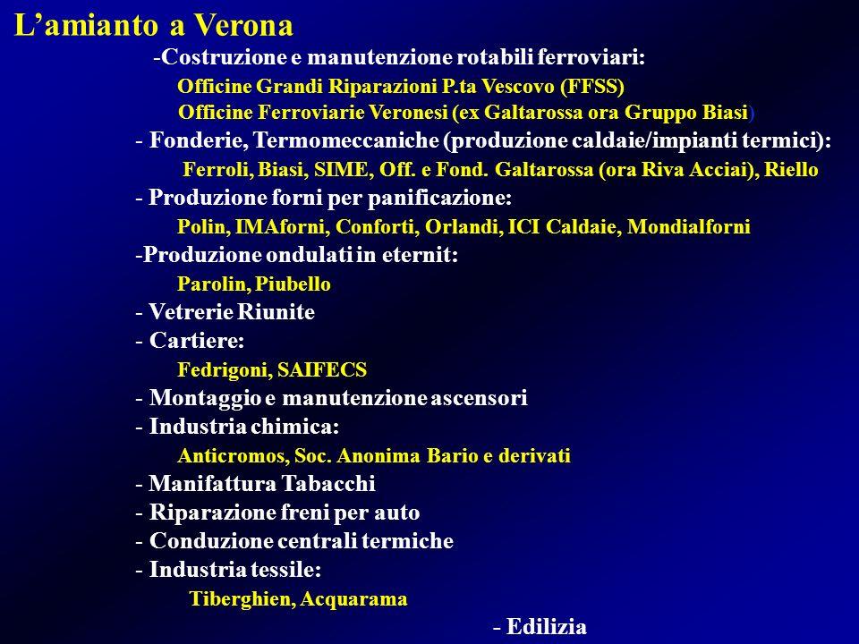 L'amianto a Verona Costruzione e manutenzione rotabili ferroviari: