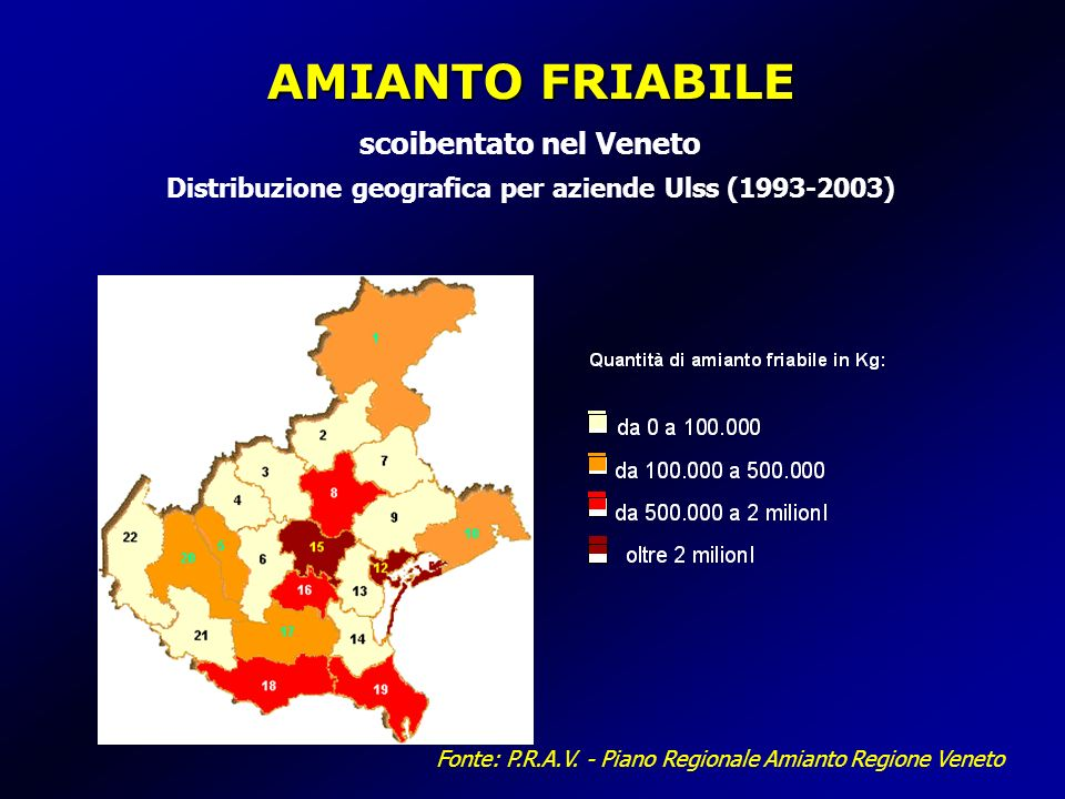 AMIANTO FRIABILE scoibentato nel Veneto