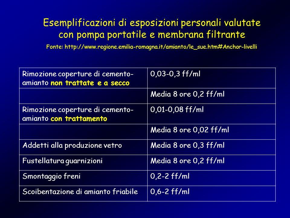Esemplificazioni di esposizioni personali valutate con pompa portatile e membrana filtrante