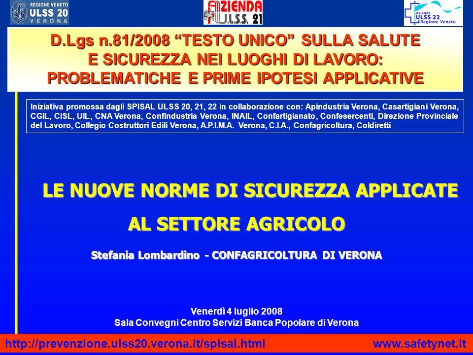 LE NUOVE NORME DI SICUREZZA APPLICATE AL SETTORE AGRICOLO