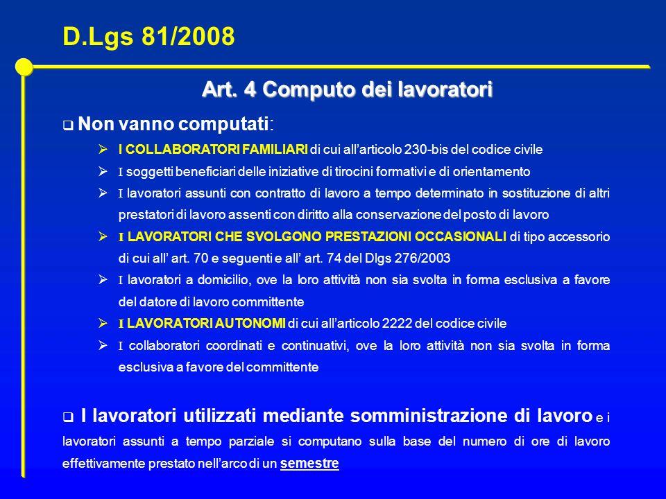 Art. 4 Computo dei lavoratori