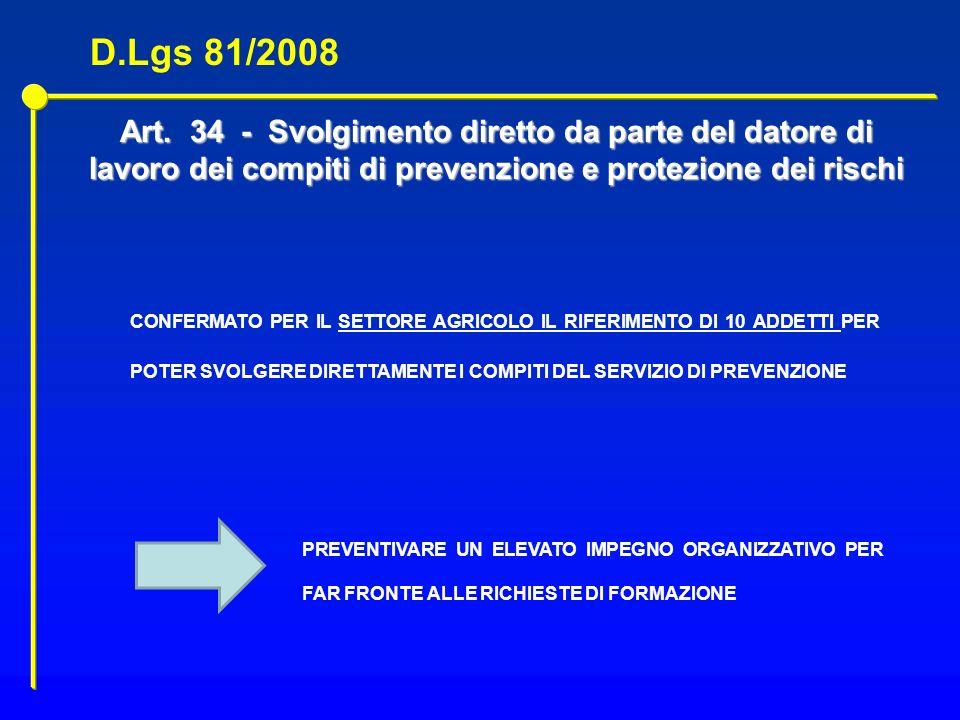 D.Lgs 81/2008 Art. 34 - Svolgimento diretto da parte del datore di lavoro dei compiti di prevenzione e protezione dei rischi.
