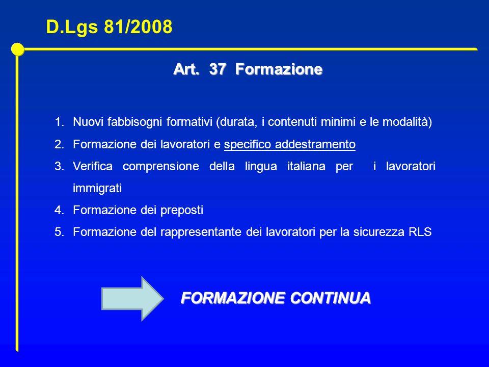 D.Lgs 81/2008 Art. 37 Formazione FORMAZIONE CONTINUA
