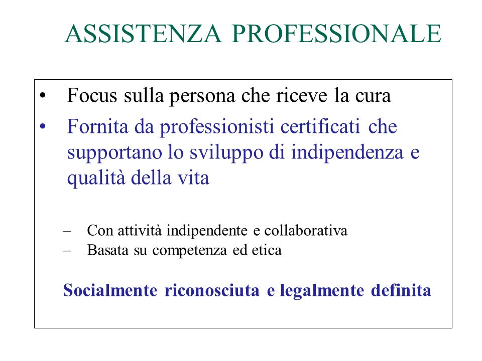 ASSISTENZA PROFESSIONALE
