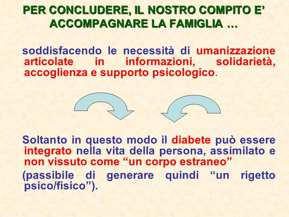 PER CONCLUDERE, IL NOSTRO COMPITO E' ACCOMPAGNARE LA FAMIGLIA …