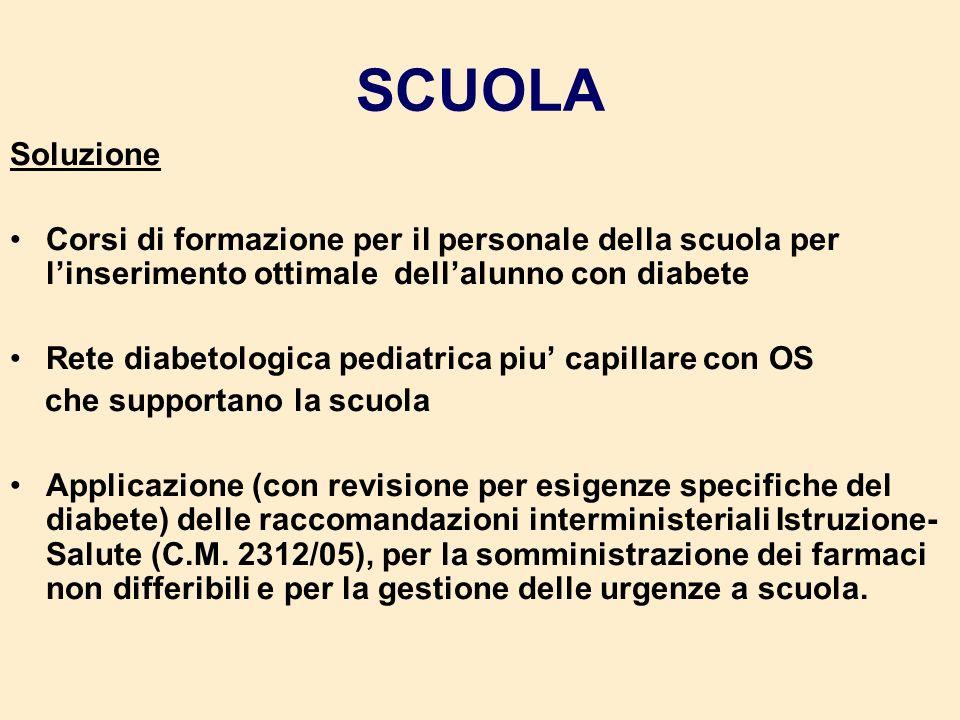 SCUOLA Soluzione. Corsi di formazione per il personale della scuola per l'inserimento ottimale dell'alunno con diabete.